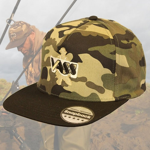 Vass SnapBack Fishing Cap – Camo with Black Peak