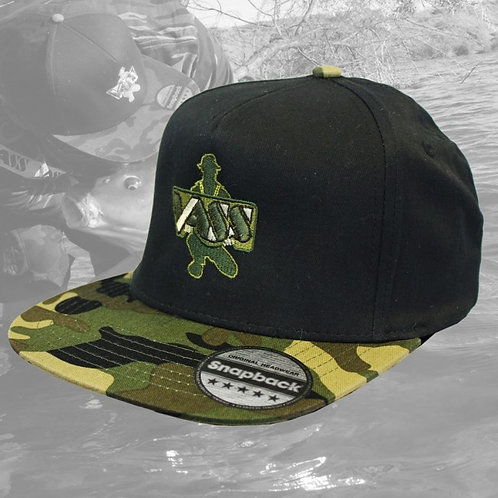 Vass SnapBack Fishing Cap – Black with Camouflage Peak