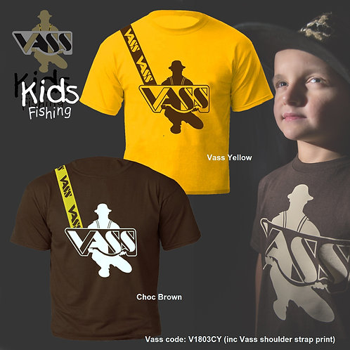 Vass Kids Fishing T-Shirt inc Vass Yellow Shoulder Print