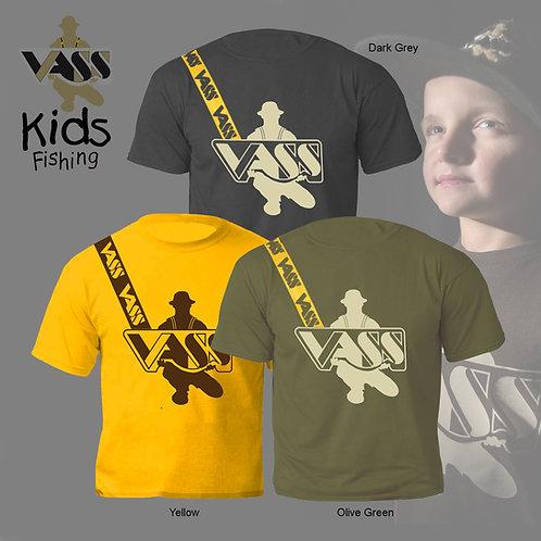 Vass Kids Fishing' T-Shirt inc Vass Strap print