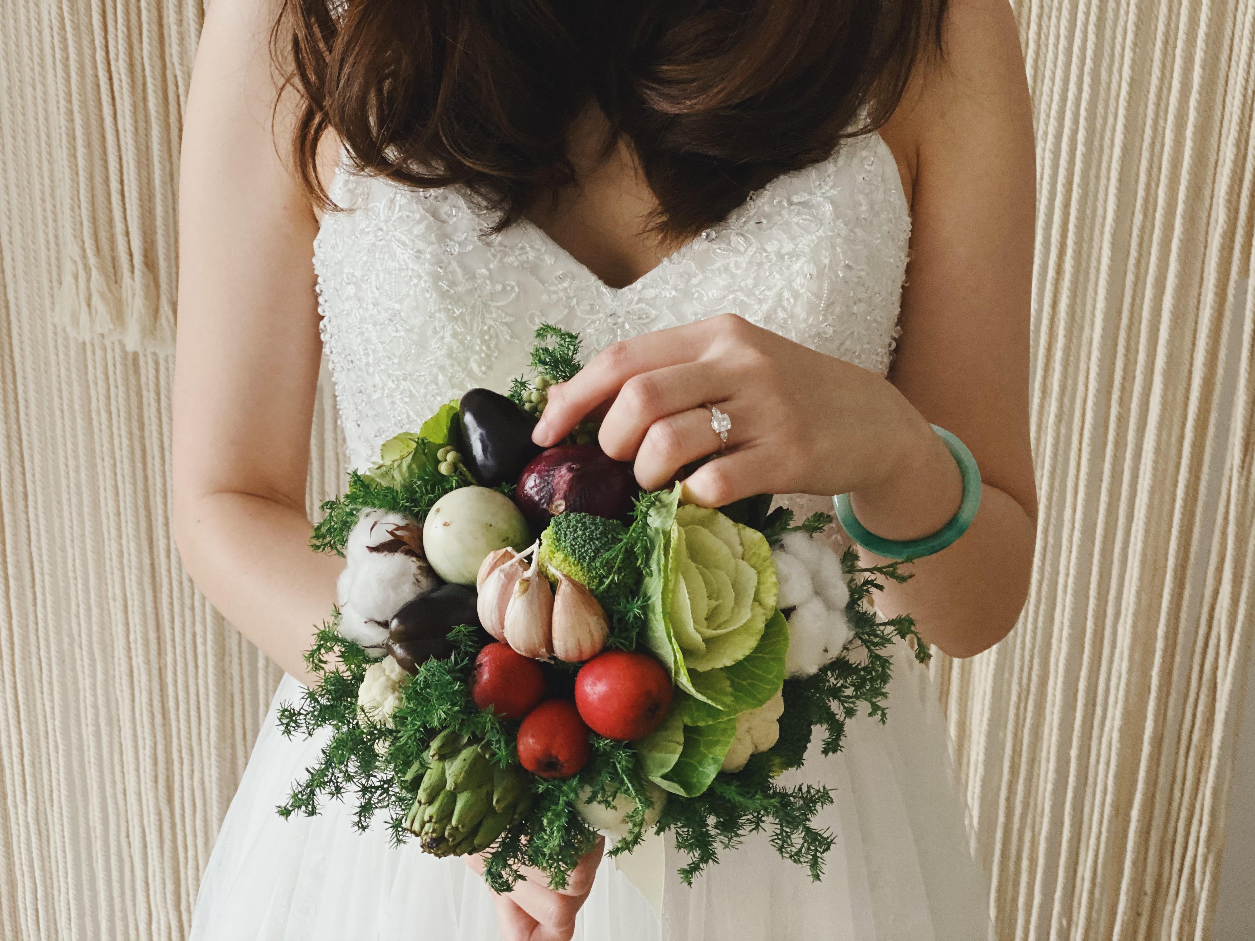 Veggie hand-held bridal bouquet