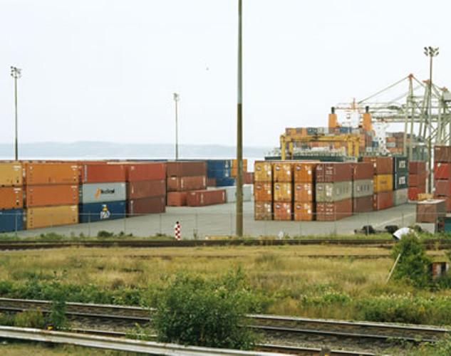 Paysage étalonné, conteneurs dans le port d'Halifax, Nouvelle-Écosse, 1998