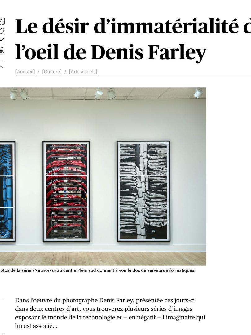 Le désir d'immatérialité dans l'oeuil de Denis Farley