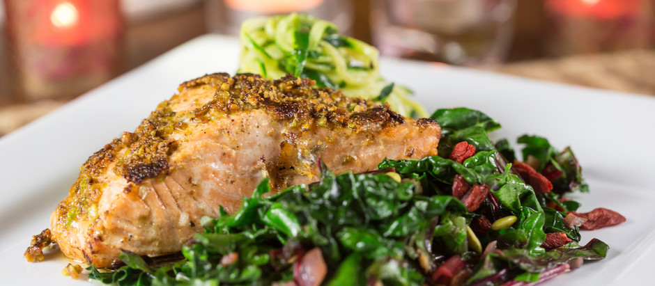 Nut-Encrusted Wild Salmon with Wilted Greens