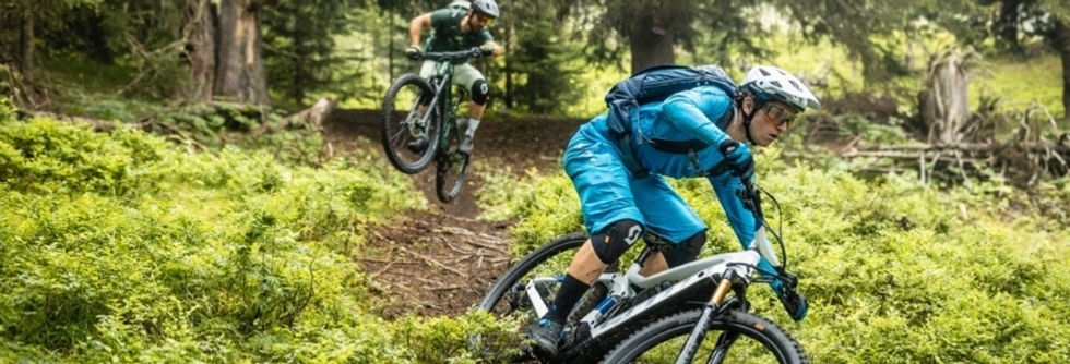 elektrische mountainbike - bos - vrienden - scott
