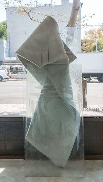 Swan, 2014 glass, cement, polyurethane foam, tint, aluminum, tape, pencil, and pretzel 77 x 31 x 14 inches
