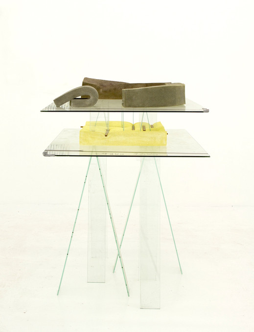 The Bathers, 2012, glass, polyurethane foam, cement, tape, paint, marker, dirt, 44 x 43 x 31 inches