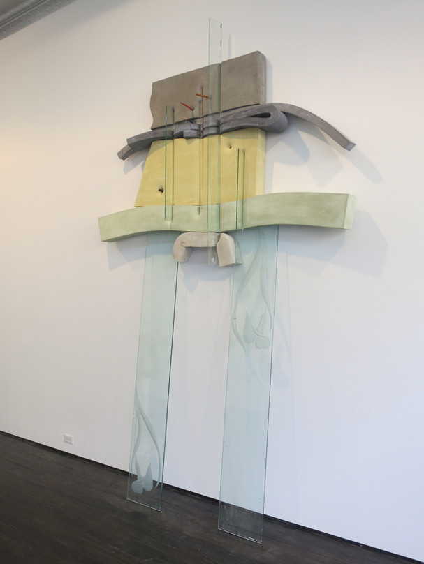 Dave Hardy, Untitled (Hippy Pants), 2013, cement, polyurethane foam, foam, glass, ink, tape, pencil, marker, pretzel, 130 x 79 x 14 inches