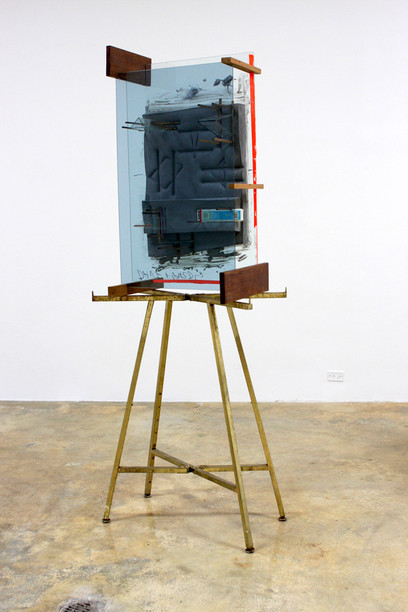 Venus Paradise, 2012, glass, polyurethane foam, cement, wood, tape, pencils, watercolor set, display stand, 91.5 x 33 x 20 inches
