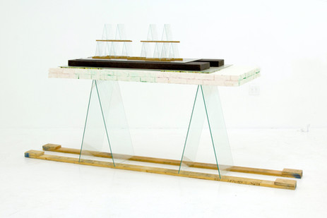 Chinook, 2012, cement, clay, glass, wood, polyurethane foam, acrylic paint, 51 x 98 x 31 inches