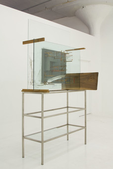 Verge D'Or, 2012,  glass, tape, wood, polyurethane foam, cement, pen, pencils, ink, marker, 93  x 52  x 39 inches