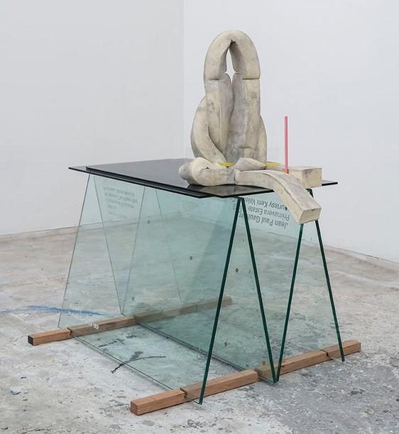 Cutout , 2014, Glass, cement, polyurethane foam, tint, tape, pencil, wood, 31 x 36 x 30 inches