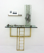 I Can't Go On, I'll Go On, 2013, glass, cement, polyurethane foam, ink, paper, fixtures, cork, 69 x 48 x 20 inches