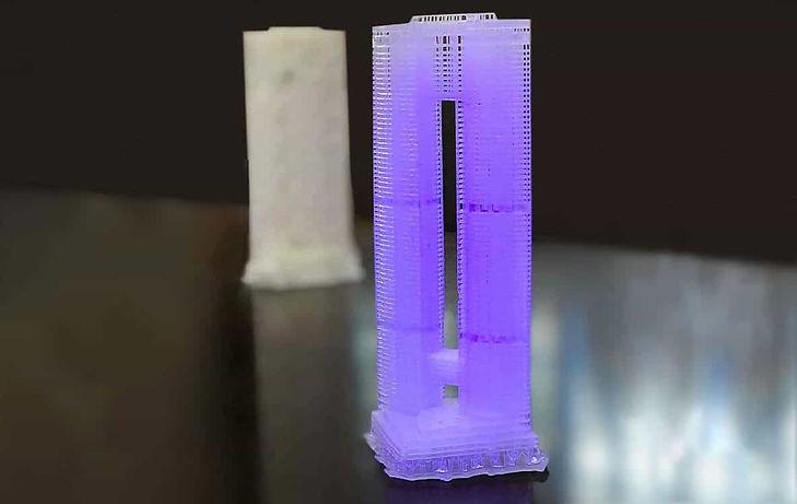 3D printed tower model by SLA 3D printing
