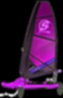 Surficat, IFS, morado, surfing de vela ligera, windsurfing, surf a vela, catamaran surf, Mothquito surf