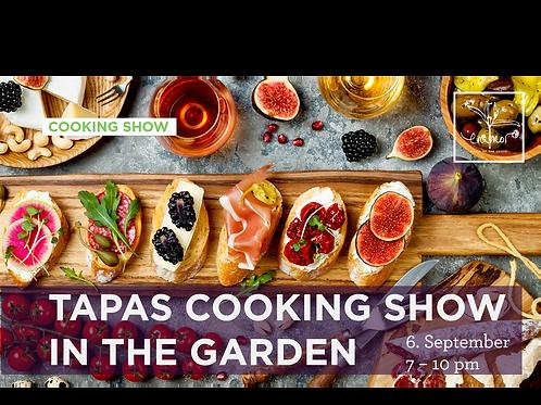 Tapas cooking show in the garden