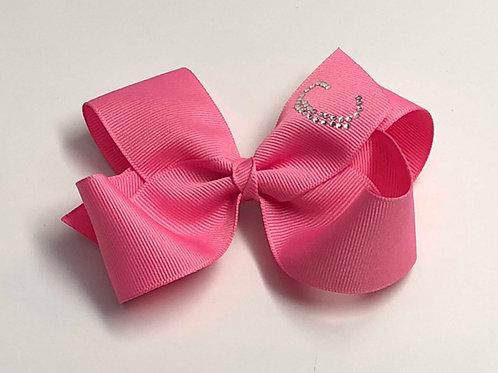 Wholesale Large Bubble Gum Pink Initial Bow MC-0012i