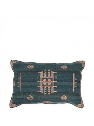 Embroidered Folk Teal Cushion