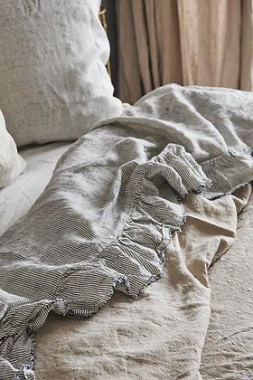 Pinstripe Ruffle Flat Sheet