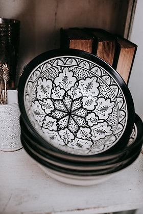 Moroccan Black & White Ceramic Serving Bowl