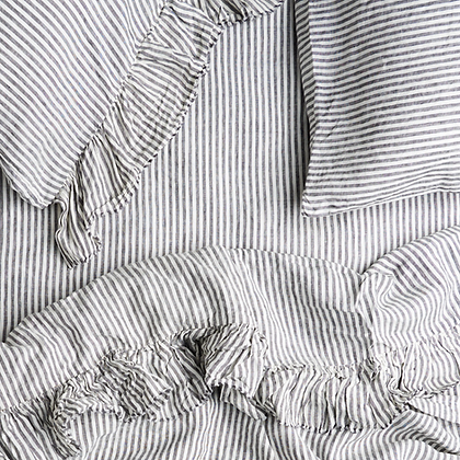 Charcoal Stripe Ruffle Flat Sheet