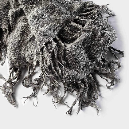 Rustic Raw Linen Throw - Slate