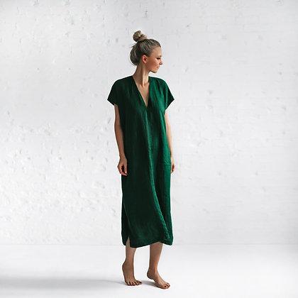 Emerald Linen V Neck Dress