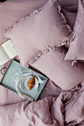 Woodrose Ruffle Trim Linen Pillowcases