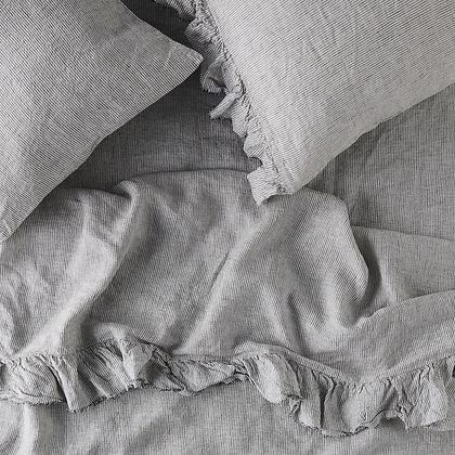 Pinstripe Fitted Linen Sheet