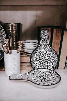 Moroccan Black & White Ceramic Spoon Rest