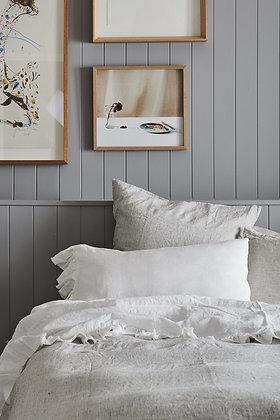 Society of Wanderers White Ruffle Pillowcase Set