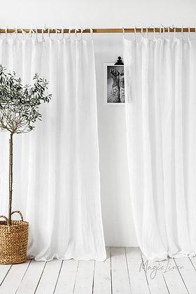 Sheer White Linen Curtain Panel