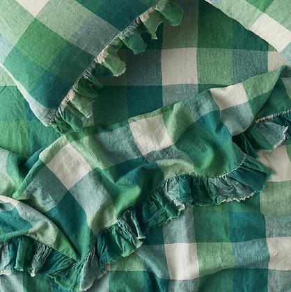 Apple Check Ruffle Linen Flat Sheet
