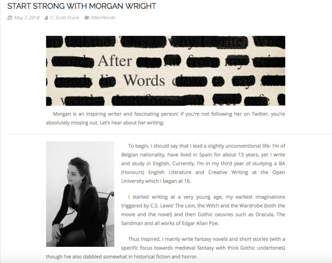 """""""A must read for #writers seeking #inspiration or #motivation...! A brilliant interview with our favorite young writer, Morgan Wright 😊"""" - CrassusMedia"""