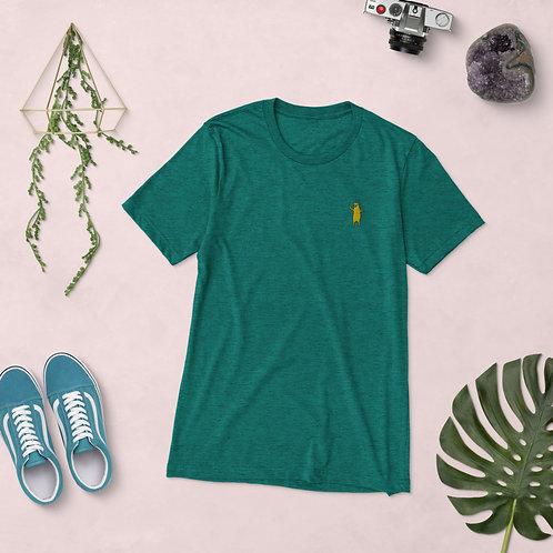 Aufgestickter Bär | Unisex, Grün, U-Ausschnitt, T-Shirt