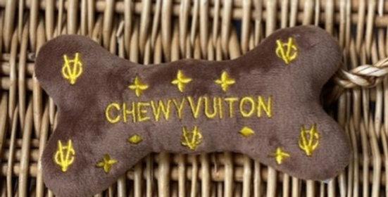 Chewy Vuiton Bone Parody Plush Dog Toy