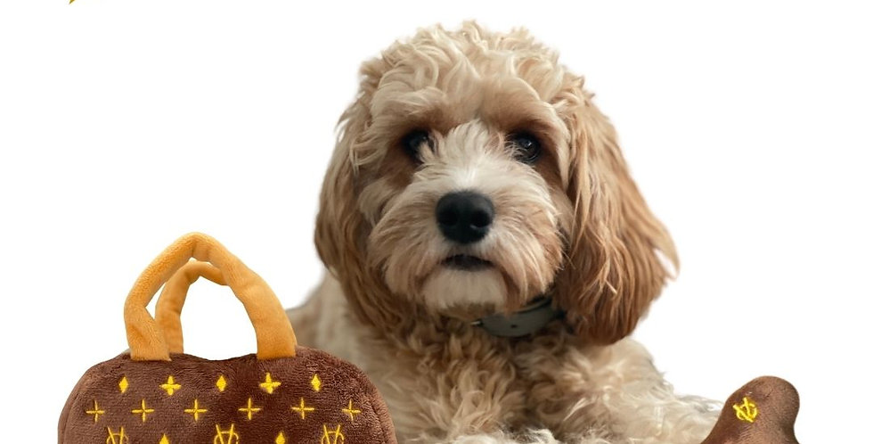Chewy Vuitton Plush Gift Pack  - Handbag Dog Toy & Bone