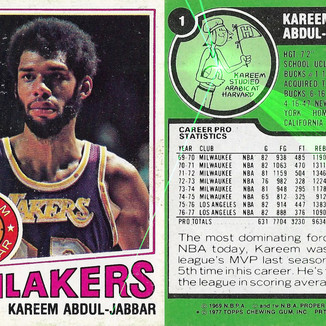 Kareem Abdul-Jabbar L.A.Lakers ALL- STAR '77 Topps By James DeWeaver 2020