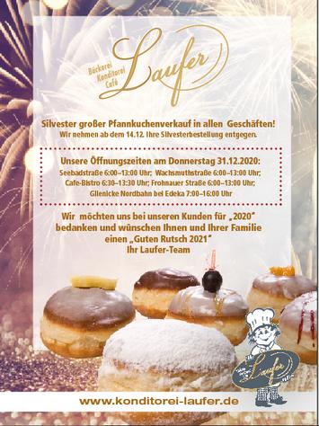 Unsere Öffnungszeiten für Silvester 2020/21