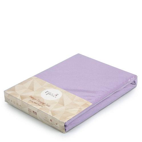 Трикотажная простынь на резинке сиреневая 1,5 спальная