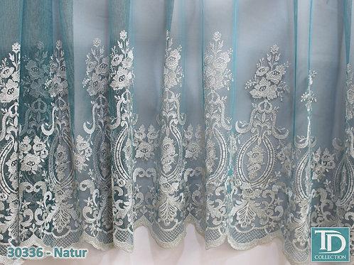 30336 Тюль купонная вышивка на бирюзовом батисте с переходом цвета(Серебристая с