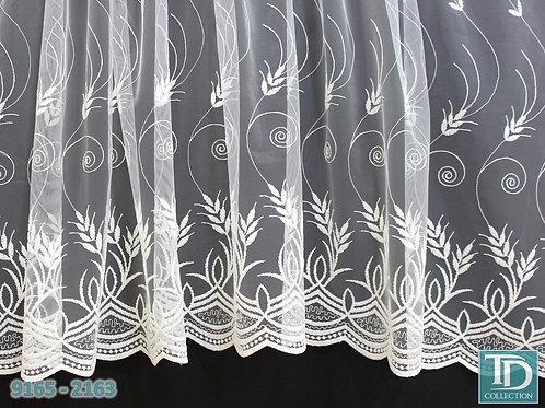 """9165-1263 Тюль вышивка на сетке """"Колоски"""" (Молочный оттенок)"""