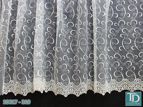 """10617-319 Тюль вышивка на органзе """"Завитки"""" (Молочный оттенок)"""