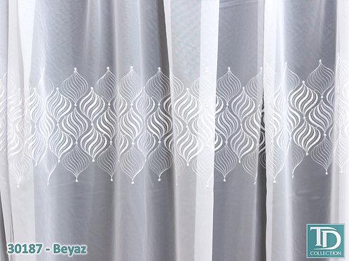 """30187 Тюль трехрядная вышивка на вуали """"Купола"""" (Белый оттенок)"""
