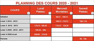 Le planning 2020/2021 des loisirs et la nouvelle section Adultes