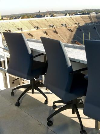 Newton chair in outdoor stadium
