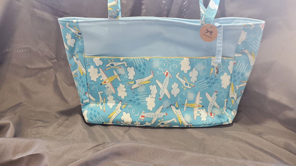 Diaper Bag (Large) - Blue/Airplanes