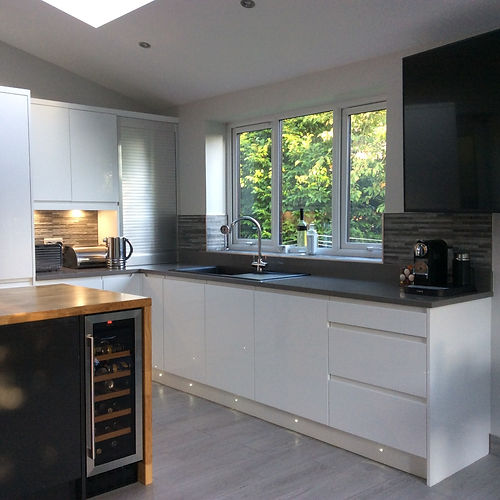 Clients Handleless Gloss White Kitchen In Chesterfield