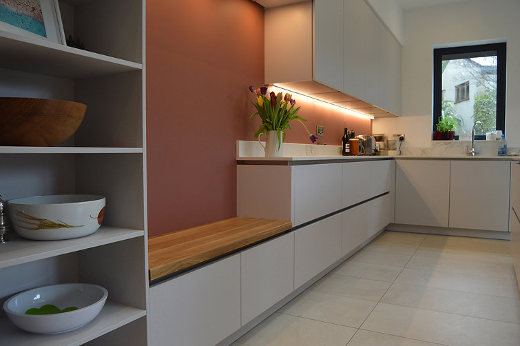 ModernGerman Handleless Fitted Kitchen, designed and supplied by Kitchen Craft Design Chesterfield & Sheffield