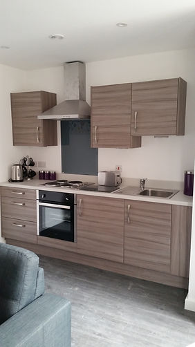 Modern Fitted Kitchen, designed and supplied as part of large contract by Kitchen Craft Design Chesterfield & Sheffield